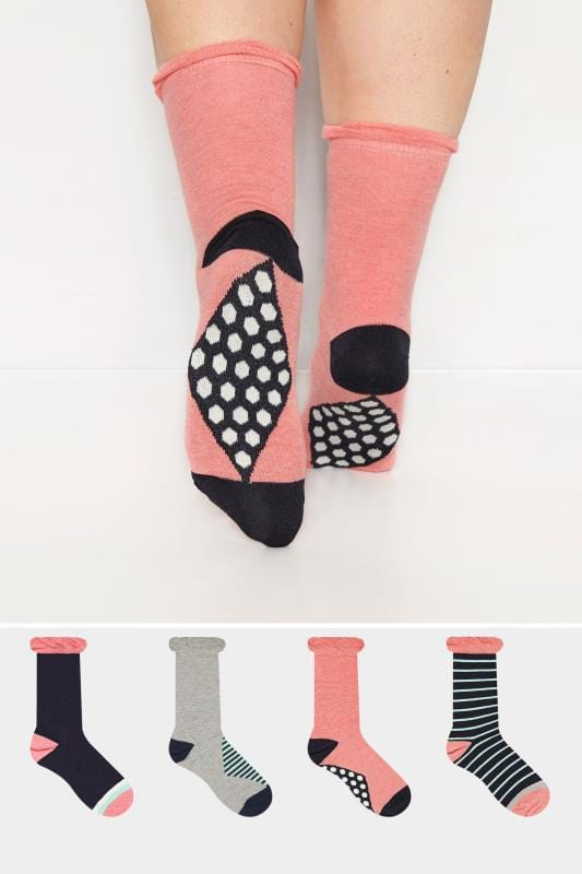 Plus Size Socks 4 PACK Stripe Ankle Socks