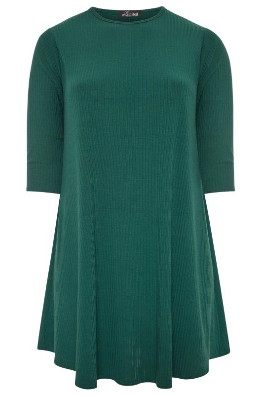 LIMITED COLLECTION Forest Green Ribbed Swing Dress