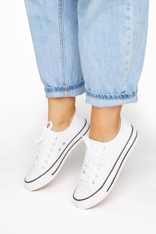Plus Size  White Canvas Low Trainer In Wide Fit
