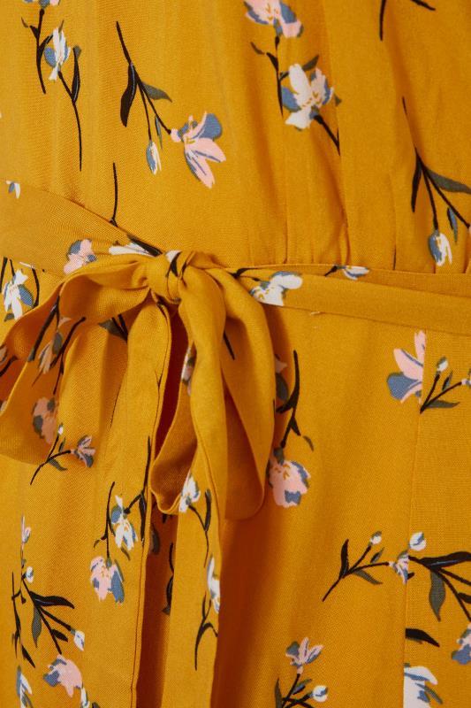 YOURS LONDON Mustard Yellow Floral Ruffle Hem Tea Dress_S.jpg