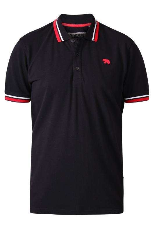 D555 Black Pique Double Tipped Polo Shirt