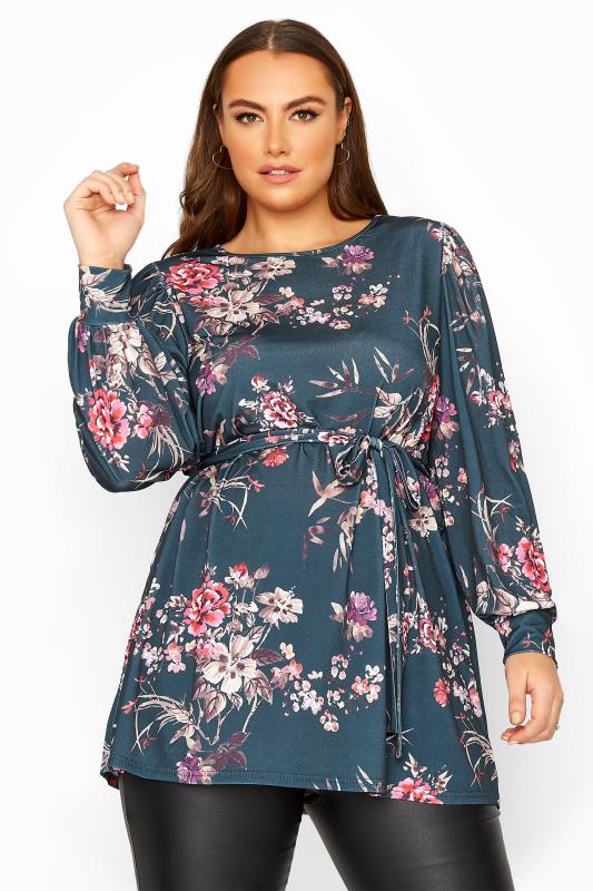 Plus Size  YOURS LONDON Blue Floral Belted Top