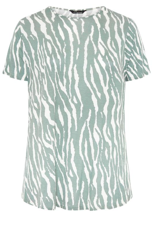 LIMITED COLLECTION Sage Green Zebra Print Swing Top_f.jpg
