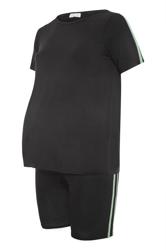 BUMP IT UP MATERNITY Black Stripe T-shirt & Shorts Set_f.jpg