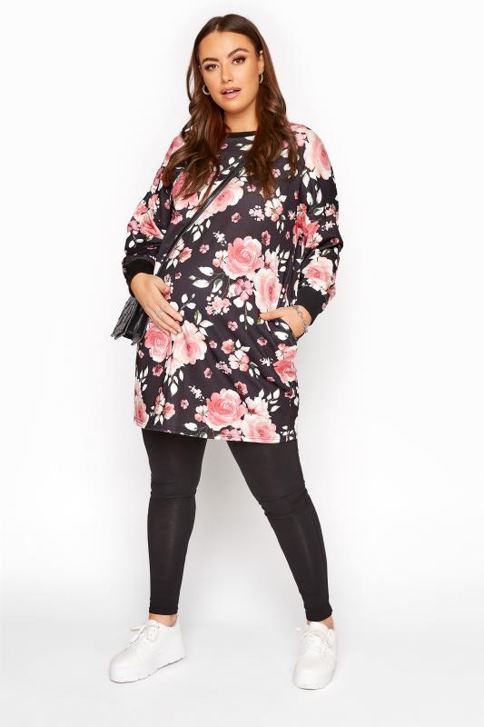 BUMP IT UP MATERNITY Black Floral Pocket Tunic Dress