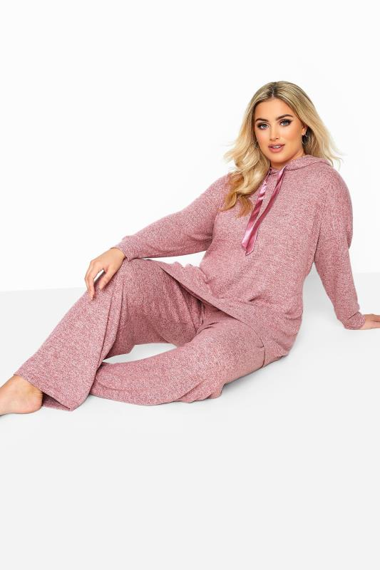 Plus Size  Pink Marl Wide Leg Lounge Pants