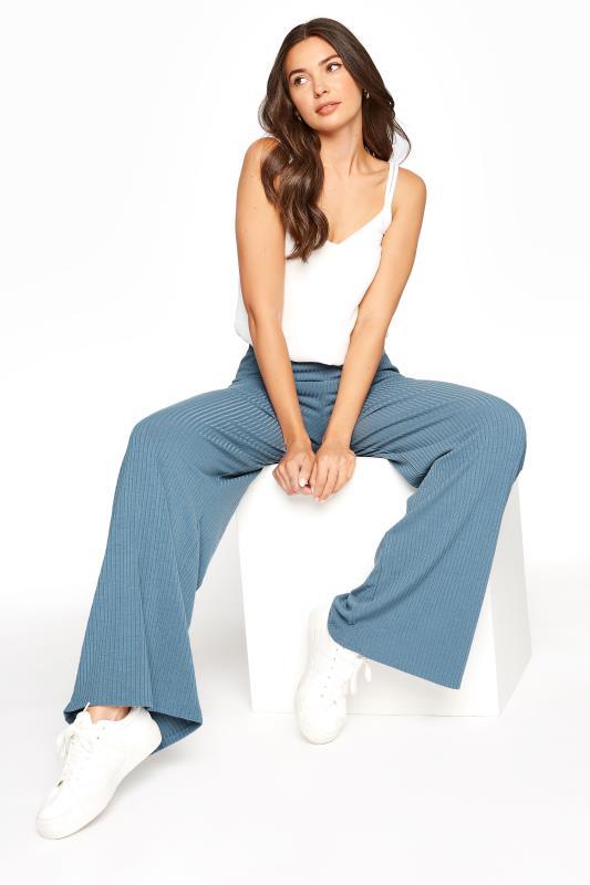 LTS Blue Ribbed Wide Leg Trouser