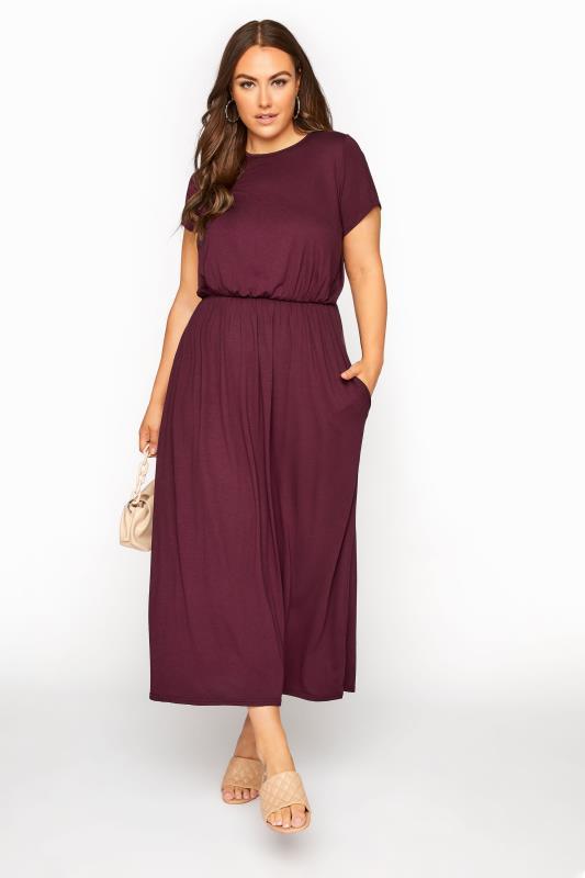 YOURS LONDON Burgundy Pocket Maxi Dress_B.jpg