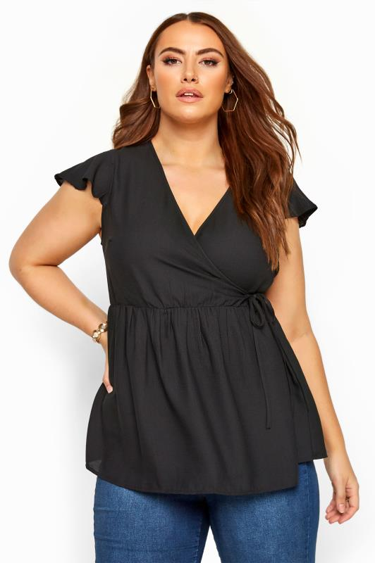 Plus Size Day Tops Black Frill Wrap Top