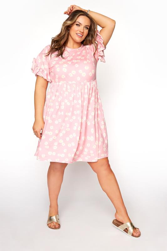 Pink Floral Print Short Frill Sleeve Dress_A.jpg