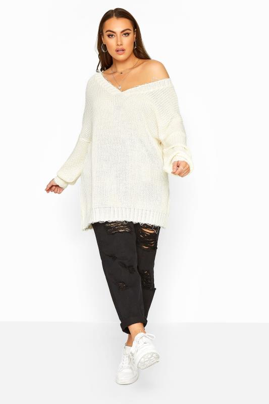 White Distressed Oversized Knitted Jumper