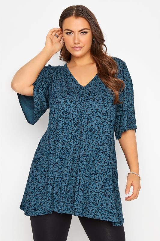 dla puszystych Teal Floral Print Pleated Swing Top