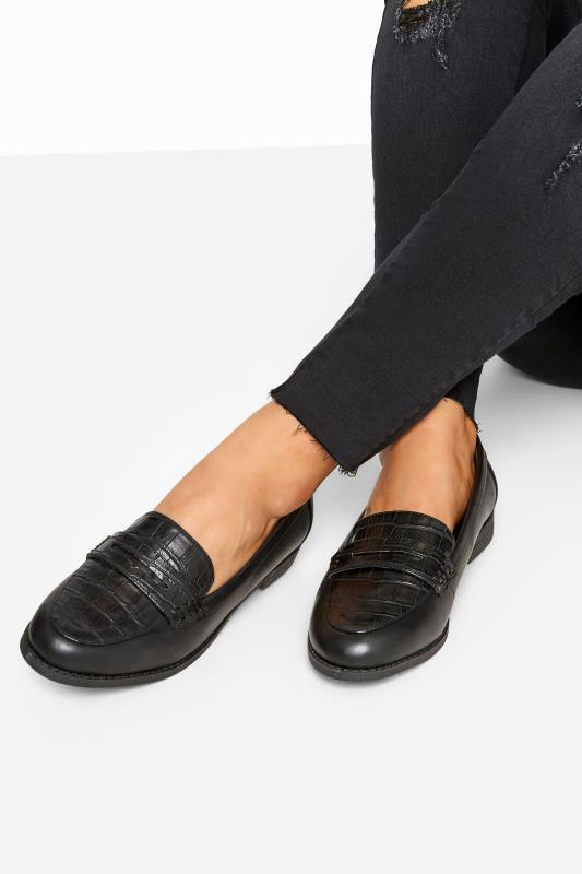 Wide Fit Flat Shoes Black Croc Loafers In Extra Wide Fit