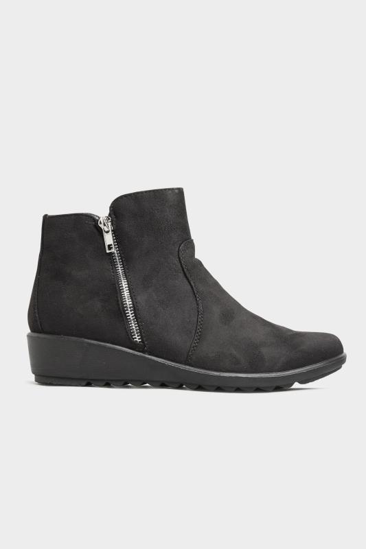 Black Vegan Suede Wedge Heel Ankle Boots In Extra Wide Fit_A.jpg