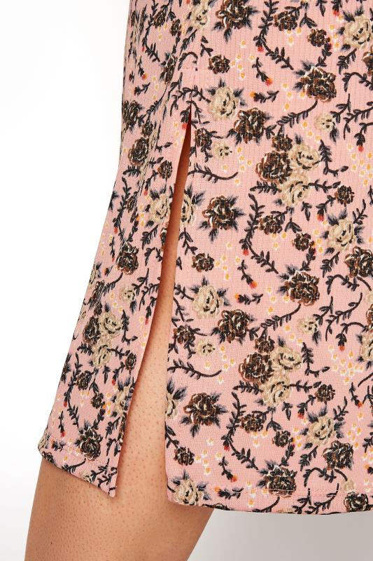 Pink Floral Shirred Front Split Hem Midi Dress_E.jpg