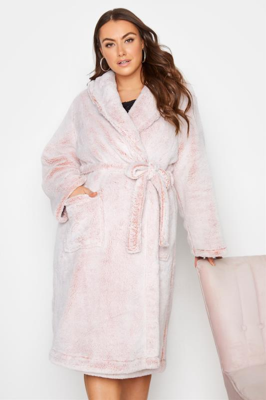Plus Size  Pink Super Soft Shawl Collar Dressing Gown