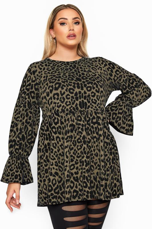 Plus Size Day Tops LIMITED COLLECTION Winter Sage Leopard Peplum Top