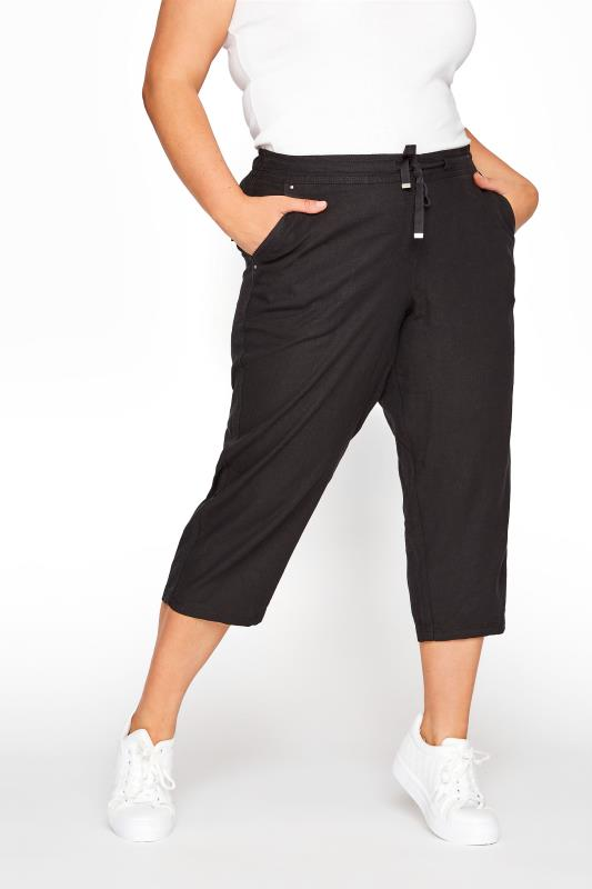 Black Cropped Linen Mix Trousers