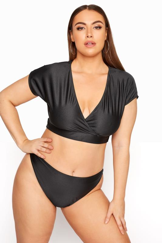 Plus Size  LIMITED COLLECTION Black Wrap Bikini Top