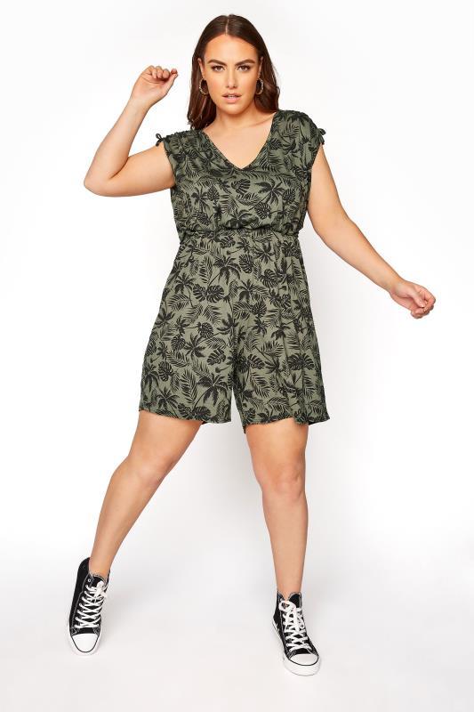 Plus Size  LIMITED COLLECTION Khaki Palm Leaf Print Playsuit