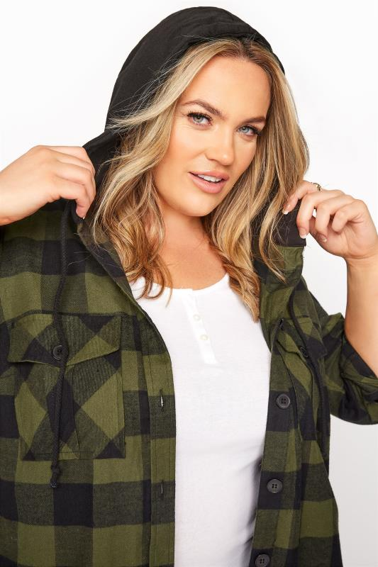 Khaki Checked Hooded Longline Shirt_D.jpg