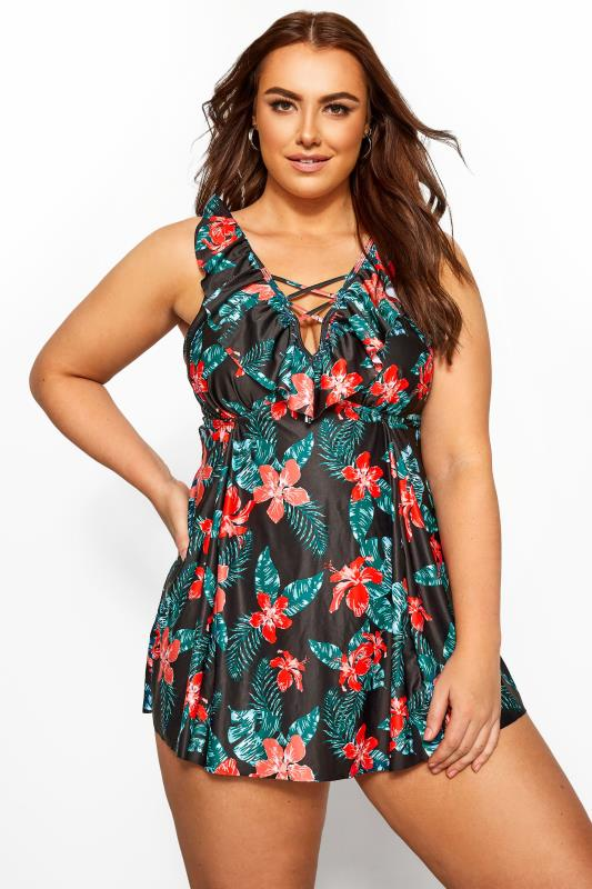 Plus Size  Black Tropical Print Swimdress