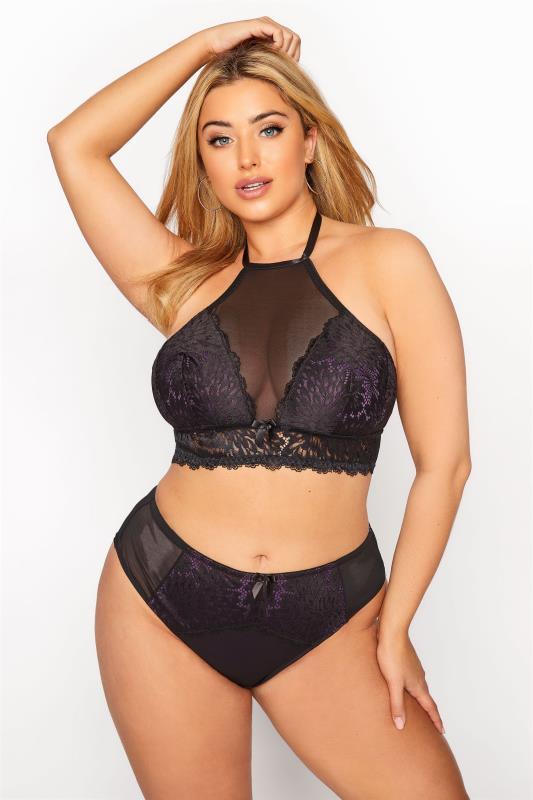 Plus Size  Purple & Black Lace Mesh Side Boudoir Briefs