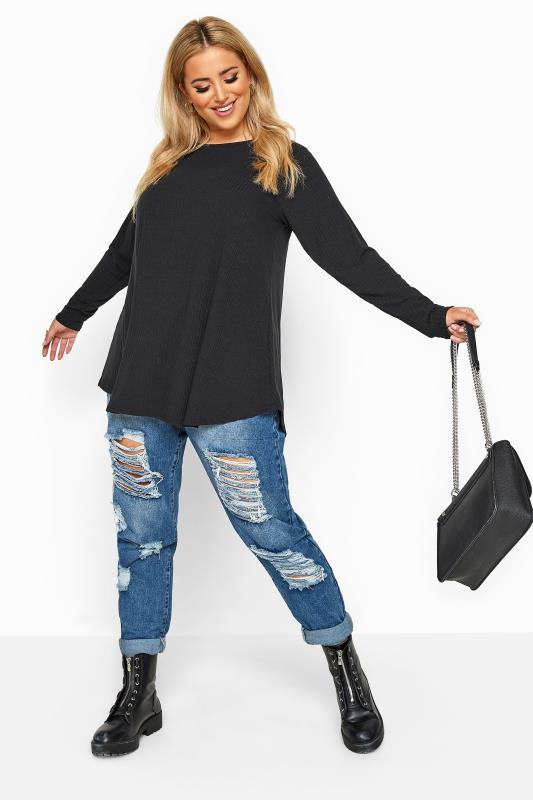 LIMITED COLLECTION Black Ribbed Long Sleeve Top