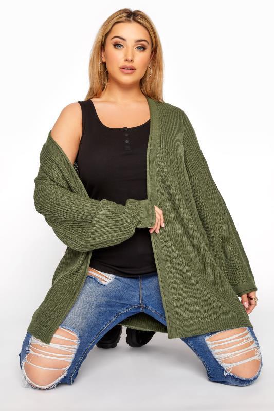 Plus Size  Khaki Knitted Longline Cardigan
