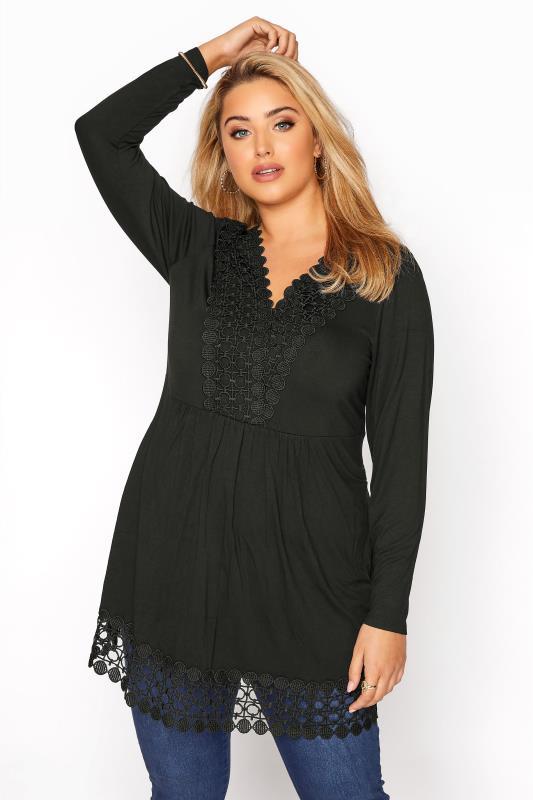 Plus Size  Black Crochet Trim Tunic