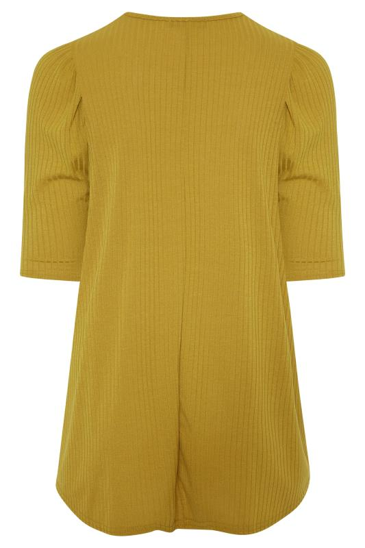 LIMITED COLLECTION Mustard Yellow Puff Sleeve Ribbed Top_BK.jpg