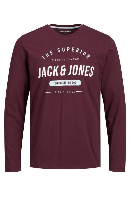 JACK & JONES Burgundy Herro Long Sleeve T-Shirt_F.jpg