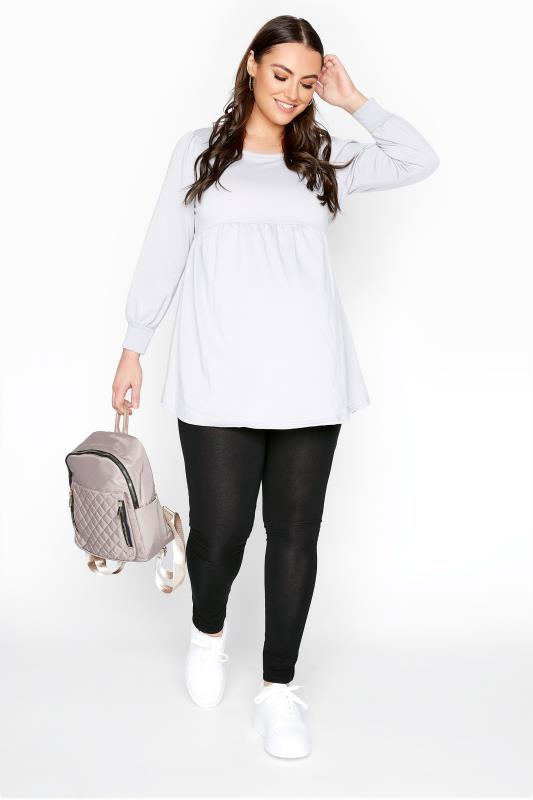 Plus Size  BUMP IT UP MATERNITY Black Jersey Leggings With Comfort Panel