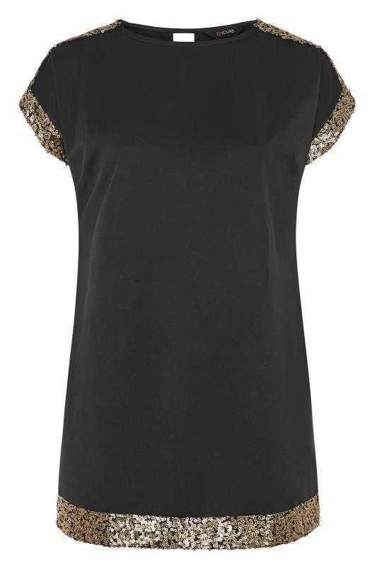 Tunikakleid mit schwarz goldenem Paillettenbesatz