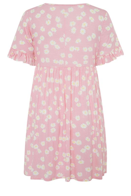 Pink Floral Print Short Frill Sleeve Dress_bk.jpg