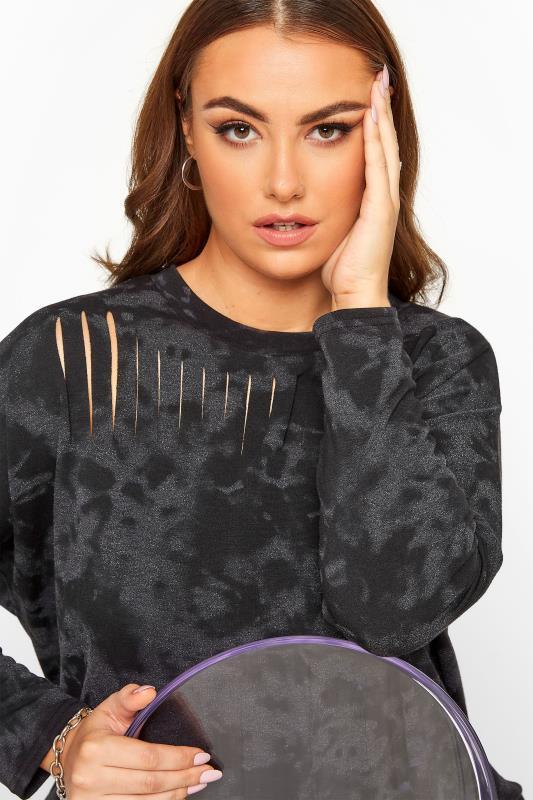Black Tie Dye Laser Cut Sweatshirt