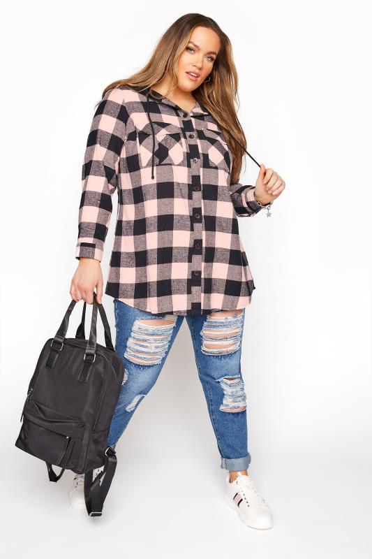 Pink Check Brushed Hooded Shirt