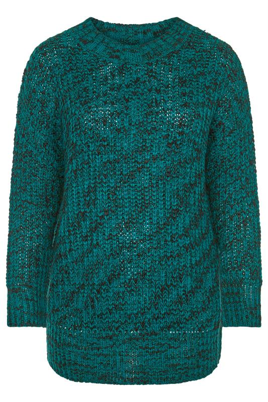 Teal Blue Marl Chunky Knitted Jumper