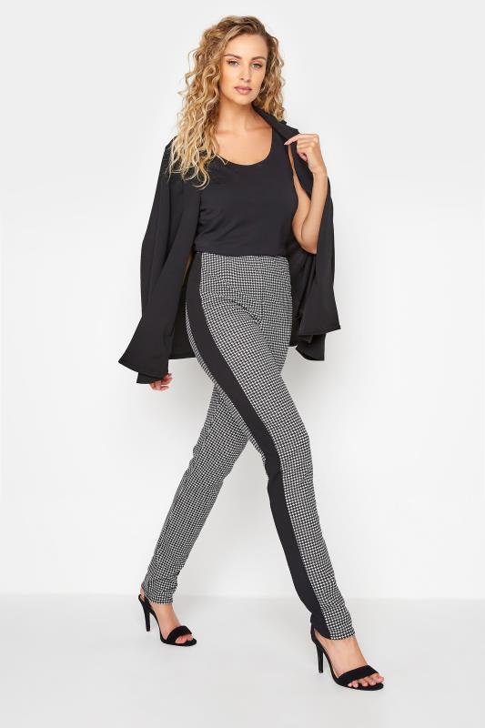 Tall  Black Dogtooth Slim Leg Trousers
