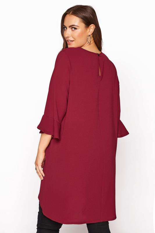 YOURS LONDON Wine Red Flute Sleeve Tunic_C.jpg