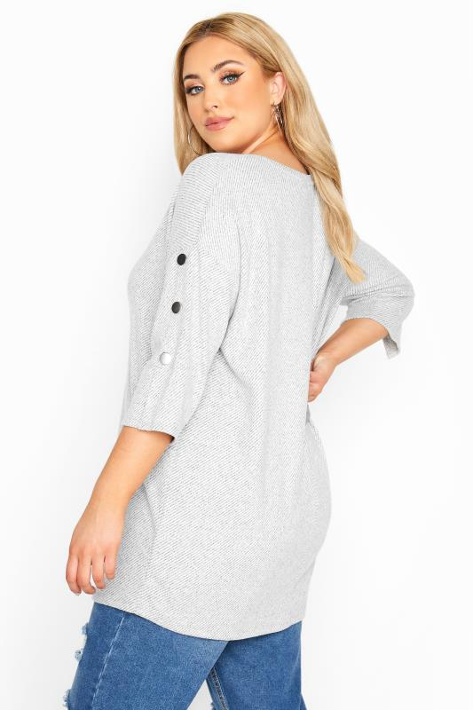 Plus Size  Light Grey Marl Mock Button Soft Knitted Top