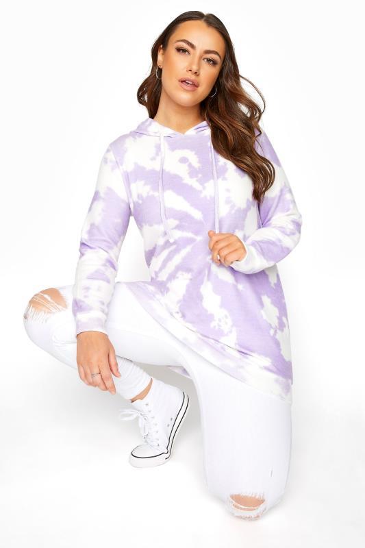 Hoodie met tie-dye print in paars