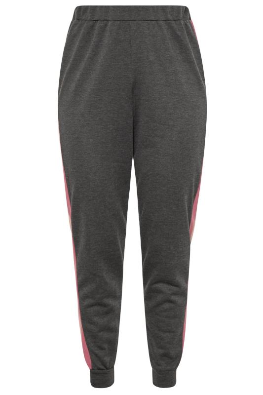 Charcoal Grey & Pink Tape Joggers