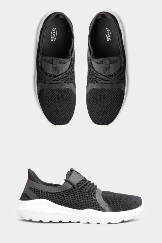 Yours Black Knitted Mesh Trainers in Regular Fit
