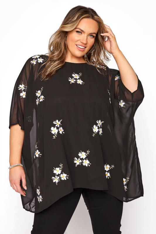 YOURS LONDON Black Daisy Embroidered Cape Top_A.jpg