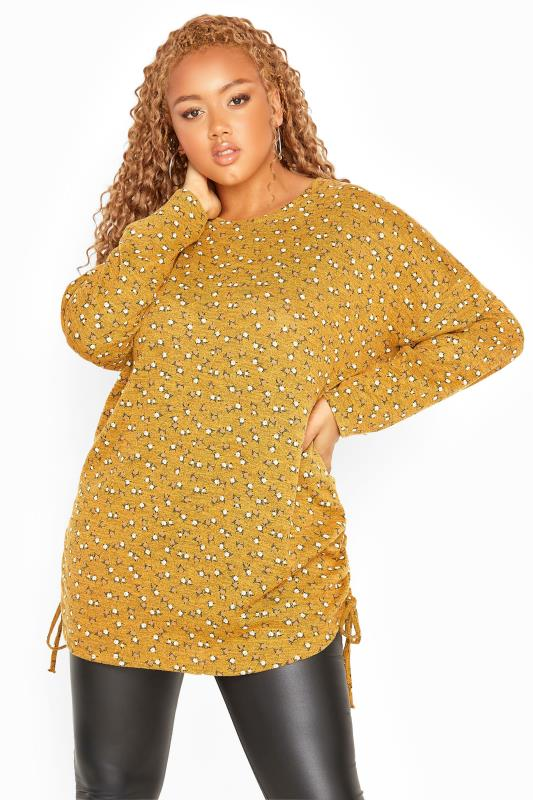 Plus Size  Yellow Ditsy Ruched Knitted Top