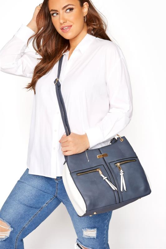 Blue Contrast Shoulder Bag
