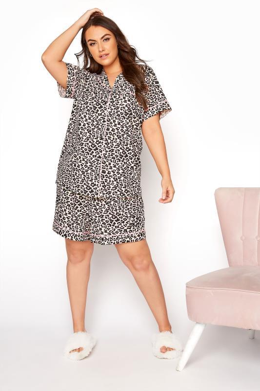 Multi Woven Leopard Print Short Pyjama Set_B.jpg