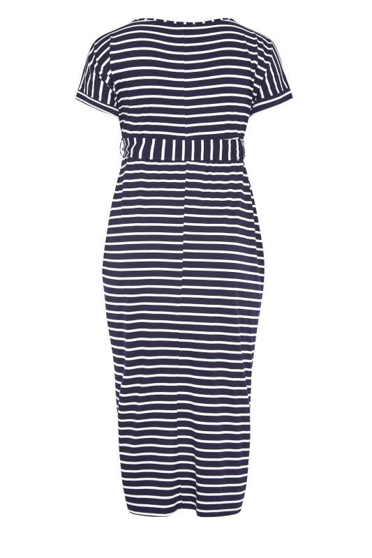 BUMP IT UP MATERNITY Navy Stripe Tie Waist Wrap Dress_BK.jpg