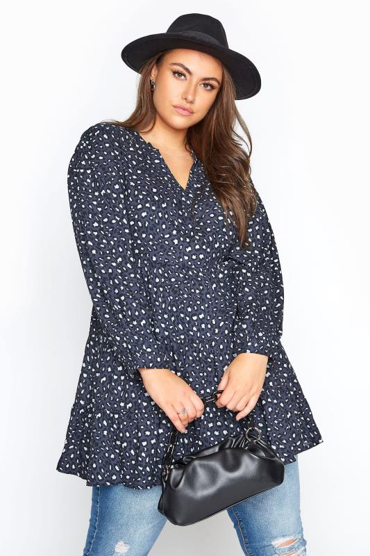 Plus Size  LIMITED COLLECTION Grey Leopard Print Tiered Smock Blouse